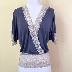 6 Degrees Lace Criss Cross Grey Batwing Blouse